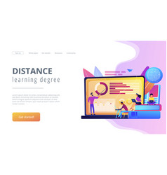 distance learning concept landing page vector image