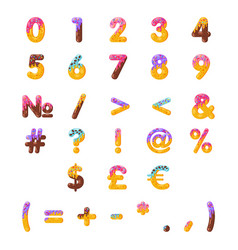 Donut cartoon numbers and math signs set vector