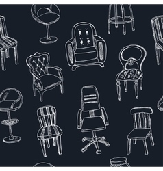 Doodle seamless pattern with chairs vector image