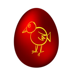 Easter egg with a picture of a chicken vector