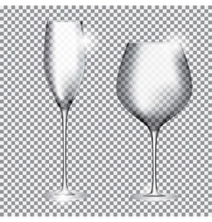 Empty Glass of Champagne and Wine on Transparent vector