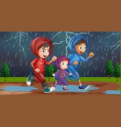 Family running in rain vector
