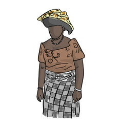 Fat african woman with local costume vector