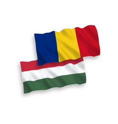 Flags romania and hungary on a white background vector