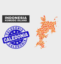 flame mosaic komodo island map and scratched vector image