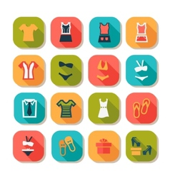 Flat fashion clothes icons vector