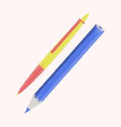 Flat shading style icon pen and pencil vector