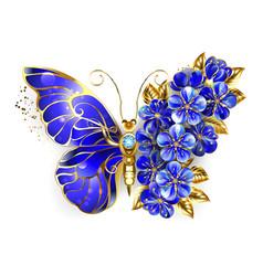 Flower sapphire butterfly vector
