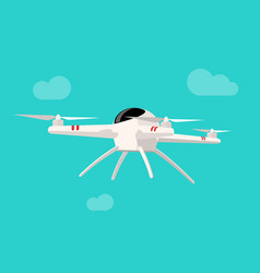 flying drone isolated on blue vector image vector image