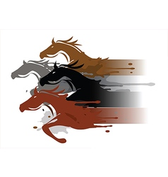 Four running horses vector image