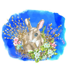 funny rabbit in birds nest with willow twigs vector image