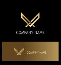 golden letter v luxury logo vector image