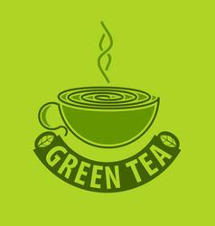 green tea logo design template vector image