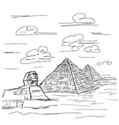 Hand drawn of famous tourist destination sphinx vector