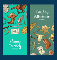 hand drawn wild west cowboy elements web vector image
