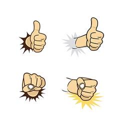 Hand sign gesture cartoon theme vector