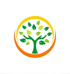 Hand tree ecology plant logo vector