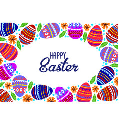 happy easter cartoon cute eggs and doodle flowers vector image