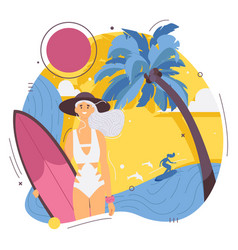 Happy female young surfer with surfboard in summer vector