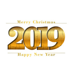 happy new year merry christmas card gold number vector image