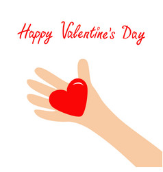 Happy valentines day hand arm holding red shining vector