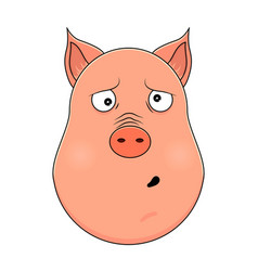 head of clueless pig in cartoon style kawaii vector image