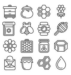 honey icons set on white background line style vector image