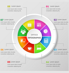 infographic design template with office icons vector image