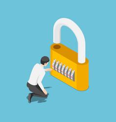 isometric businessman unlock lock success vector image