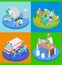 Isometric medical clinic health care concept vector