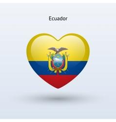 Love ecuador symbol heart flag icon vector