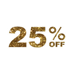 Luxury golden glitter twenty-five percent off vector