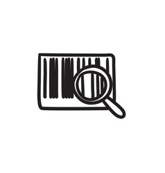 Magnifying glass and barcode sketch icon vector