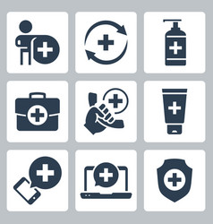 medical and pharmacy icon set in glyph style 2 vector image