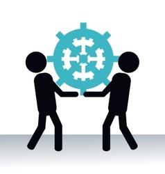 Men hold up gear teamwork pictogram vector