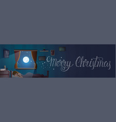 merry christmas text in window from bedroom with vector image