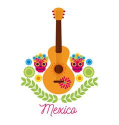 Mexico music guitar skulls flower celebration vector
