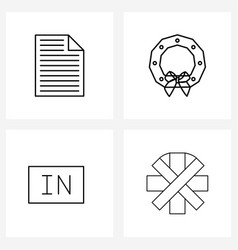 Modern line 4 simple line icons document vector