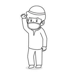 muslim boy religious cartoon character greeting vector image
