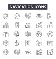 navigation line icons signs set outline vector image