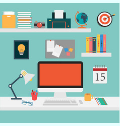 Office set for work computersmart vector image