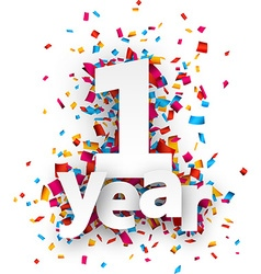 One year paper confetti sign vector image