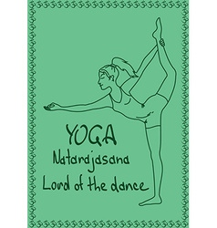 Outline girl in Lord of the Dance yoga pose vector