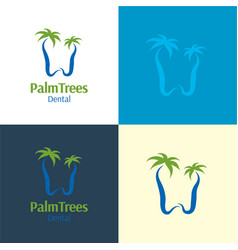 Palm trees dental logo and icon vector