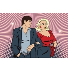 People in retro style Loving couple on walk vector image