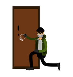 professional burglar character breaks the door vector image