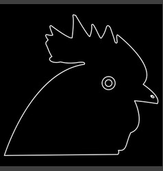 Rooster head the white path icon vector