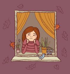 Sad girl looking in the window autumn vector