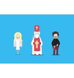 Saint Nicholas with angel and devil Cartoon vector