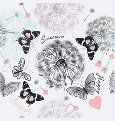 Seamless floral background with dandelions vector